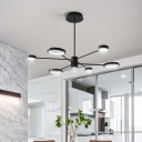 Black Ring Chandelier Light with Radial Design Metallic Led Modern Ceiling Pendant Light
