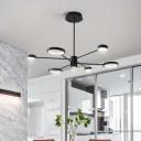 Black Ring Chandelier Light with Radial Design Metallic Led Modern Ceiling Pendant Light