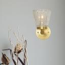 Crystal Glass Shade Wall Lamps Modern Metal 1 Light Wall Light Fixture in Brass for Corridor