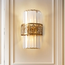 Leaf Pattern Wall Lights Mid Century Crystal Metal 2 Light Sconce Wall Lighting for Bedroom