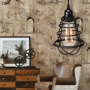 Black Cage Hanging Pendant for Kitchen Dining, Antique Iron 1 Light Plug in Pendant Lights