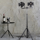 2 Light Unique Floor Lamp Antique Metal Night Light with Tripod for Bedroom Living Room Office