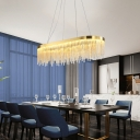 Unique Crystal Linear Hanging Lamp Modern LED Ceiling Pendant Light Fixture over Kitchen Island