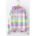 Girls Colorful Striped Print Bow Tie Back Long Sleeve Loose Hoodie