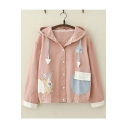 Students Lovely Rabbit Pattern Buttons Down Patchwork Color Block Long Sleeve Hooded Casual Loose Jacket