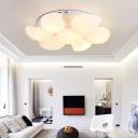 Metal Shell Ceiling Flush Light Modernism White Flushmount Lighting for Living Room