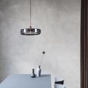 Blue Glass Drum Hanging Lamp Minimalist 1 Light Ceiling Pendant Light for Bedroom