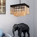 Amber Crystal Fringe Hanging Ceiling Lights Contemporary Metal Squared Pendant Lighting for Indoor