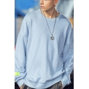 Men's Leisure Simple Plain Round Neck Long Sleeve Casual Loose Pullover Sweatshirt