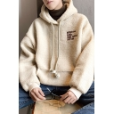 New Arrival Fashion Letter Embroidered Apricot Plush Pullover Hoodie