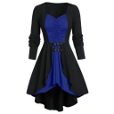 Womens Fashion V-Neck Long Sleeve Color Block Patchwork Buckled Embellished Asymmetrical A-Line Mini Dress