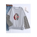 Popular La Casa De Papel Figure Letter Printed Stripe Long Sleeve Pullover Sweatshirt