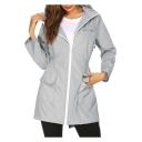 Womens New Stylish Simple Plain Elastic Waist Outdoor Hooded Zip Up Windbreaker Mountain Coat