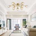 Gold Finish Orb Shade Semi Flush Ceiling Fixture 9 Light Modern Glass Flush Mount Ceiling Light for Bedroom