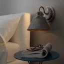 Antiqued Cone Wall Lighting Fixtures Steel 1-Light Wall Light Lamp Sconce for Bedside