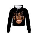 Funny Crown Gorilla Emoji Face 3D Printed Black Cropped Hoodie