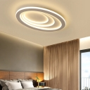 Contemporary Oval Ceiling Mount Light Fixture Metal LED Mount Fixture in White