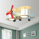 Airplane Ceiling Fixture Metal 6 Bulbs Pendant Lights with Milk White Glass Shades for Children Bedroom