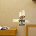 Pipe Accent Table Lamp Loft Industrial Metal Plug in Desk & Table Lamps with Glass Shade for Study