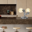 Farmhouse 2-Light Desk Lamp Iron and Glass Table Lamps for Bedroom, Living Room and More