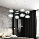 Oval Clear Glass Chandelier Lighting with Metal Ring Modernism Indoor Pendant Light