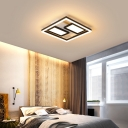 Modern Simple Rectangle Flush Lighting Acrylic Integrated Led Black Ceiling Mounted Light