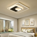 Integrated Led Geometric Flush Mount Light Modernism Acrylic Ceiling Light Fixture in White