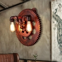 Rust Gear Sconce Light Fixture Antiqued Metal 2 Heads Wall Sconce Lighting with Edison Bulb for Restaurant
