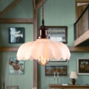 Scalloped Pendant Ceiling Lights Modern Industrial Glass 1 Light Hanging Lamps in Olde Bronze for Coffee Shop