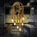 Open Bulb Pendant Ceiling Lights Village Rope 1 Light Novelty Hanging Lamps for Kitchen Table