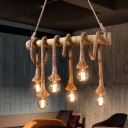 Bare Bulb Island-Light Asian Rope and Bamboo 4/6 Light Ceiling Pendant Light over Kitchen Island