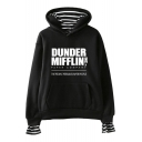Fashion Letter Dunder Mifflin Print Long Sleeve Casual Loose Hoodie