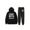 New Fashion Letter Straight Outta Dunder Mifflin Print Hoodie with Joggers Sweatpants Two-Piece Co-ords