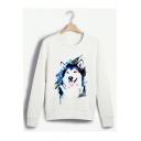 Cute Cartoon Wolf Print Round Neck Long Sleeve White Sweatshirt