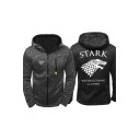 Game of Thrones Stark Wolf Printed Long Sleeve Full Zip Fitted Hoodie