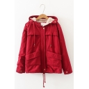 Students Plain Long Sleeve Lamb Wool Hooded Zip Up Coat