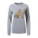 Cartoon Lazy Sloth Pattern Round Neck Long Sleeve Sweatshirt
