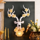 Hand Painted Deer Wall Mount Light Rustic 1 Light Resin Sconce Light with Hanging Globe Shade