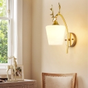 Modern Tapered Wall Lighting with Deer Decoration 1 Light Frosted Glass Sconce Light