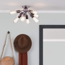 8 Light Starburst Lighting Fixture Industrial Metal Open Bulb Ceiling Lights for Bedroom