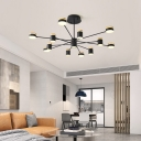 Black Sputnik Suspension Light with Cylinder Shade Led Indoor Chandelier Light for Living Room