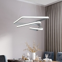Twisted Square Chandelier Lighting Nordic Style Metal Led Gray Pendant Lighting