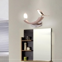 Bird/Cylinder Wall Sconces Contemporary Iron 2 Heads Sconce Wall Lamps in Rose Gold for Bedroom