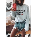 SUNDAY KINDA GIRL Letter Love Heart Printed Round Neck Long Sleeve Gray Pullover Sweatshirt