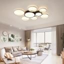 Metal Multi-Ring Led Ceiling Light Modern Black and White Flush Light for Living Room