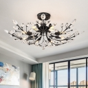 Matte Black Branch Semi Flush Chandelier Modern Crystal Metal Ceiling Lights for Living Room