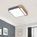 Red/Yellow/Green Square Ceiling Light Fixture Nordic Style Iron and Wood Creative Flush Mount Lighting for Kids Room Bedroom