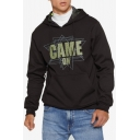 Men's New Stylish Letter GAME ON Printed Long Sleeve Black Drawstring Hoodie with Pocket