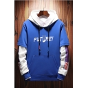 Men's New Stylish Letter FUTURE Print Colorblock Long Sleeve Pullover Drawstring Hoodie