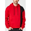 Men's Unique Creative Letter Colorblock Print Long Sleeve Casual Pullover Drawstring Hoodie
